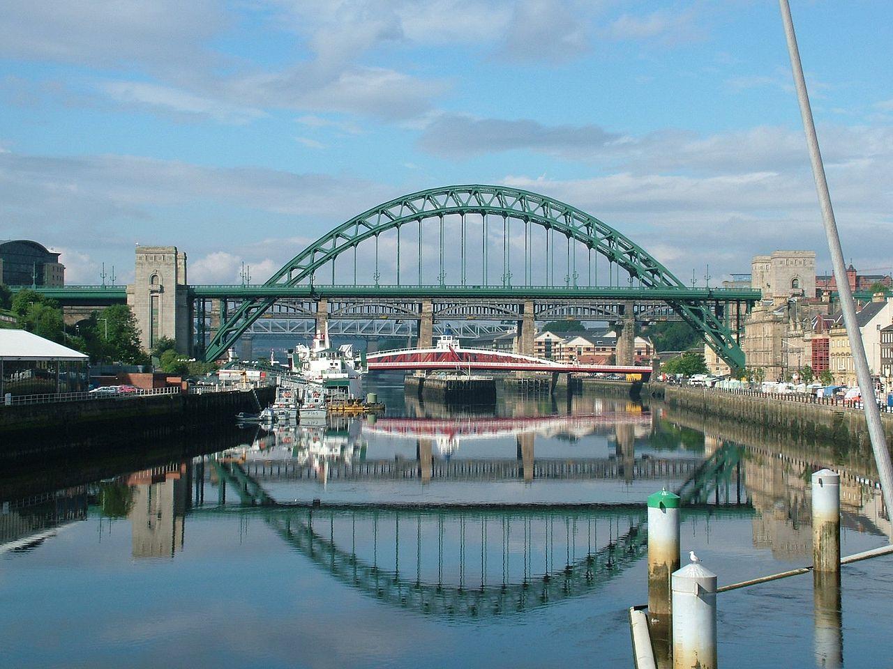 Tyne Bridge, in green, seen from the Gateshead Millennium Bridge