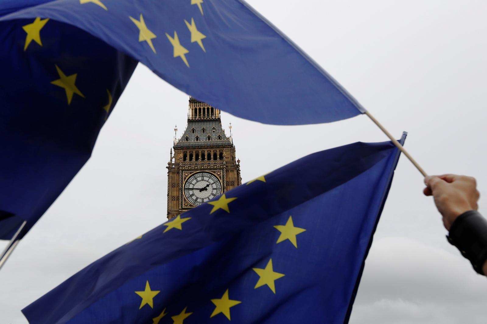 EU flags Big Ben