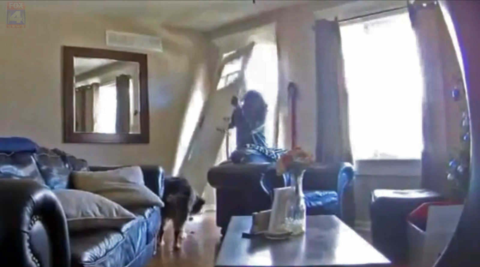 IoT security camera footage of a break-in