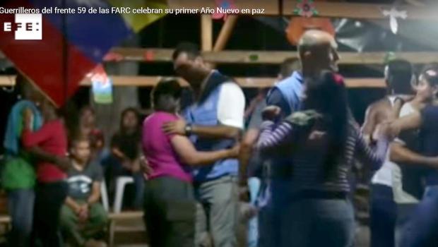 UN observers dance with Farc militants