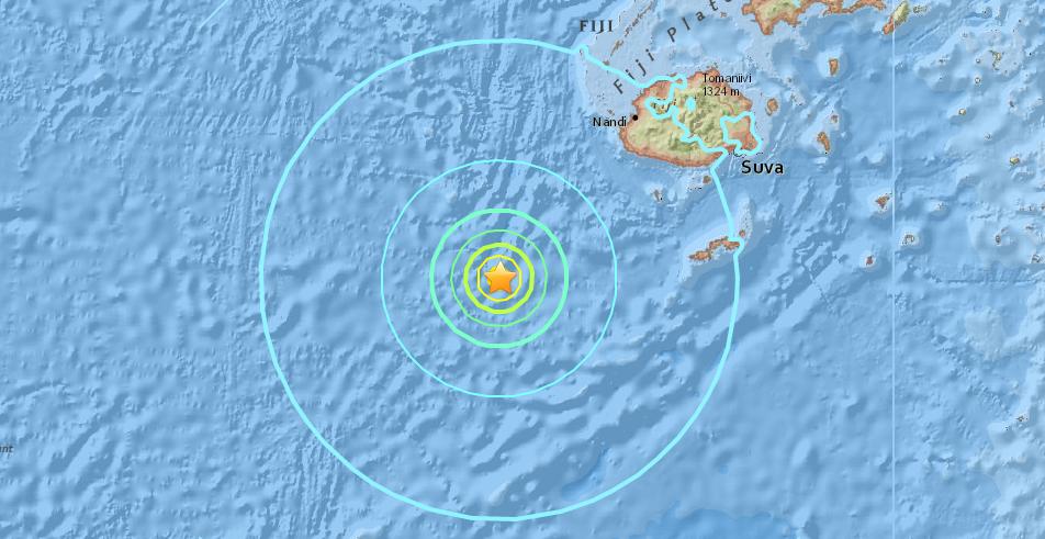 Map of 6.9 Fiji earthquake