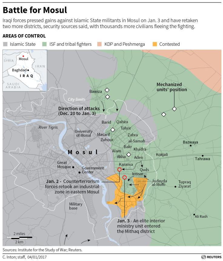 Iraqi forces press gains in Mosul