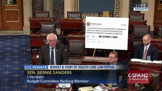 Bernie Sanders with Trump tweet cut-out