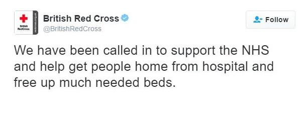 British Red Cross deleted NHS tweet