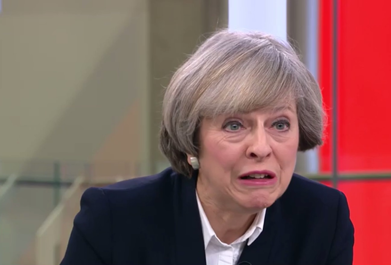 Moment when theresa may was what she feels about trumps pussy grab comments