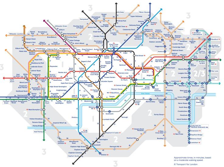 London Underground walking times
