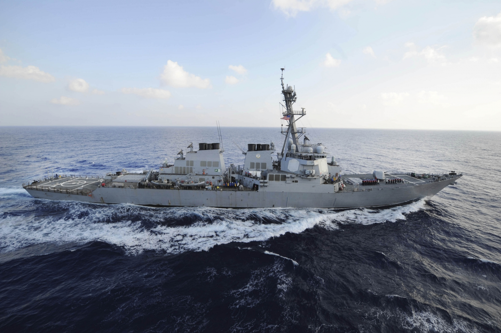 he guided-missile destroyer USS Mahan (DDG 72) transits the Mediterranean Sea