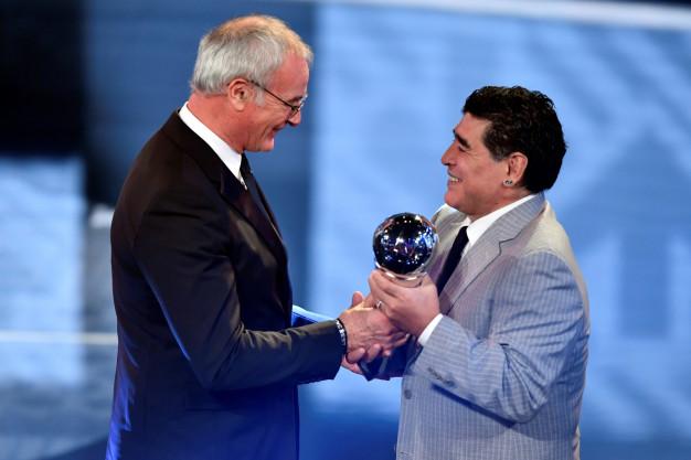 Claudio Ranieri and Diego Maradona