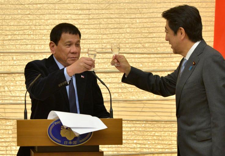 Japan PM Shinzo Abe and Philippines' Duterte