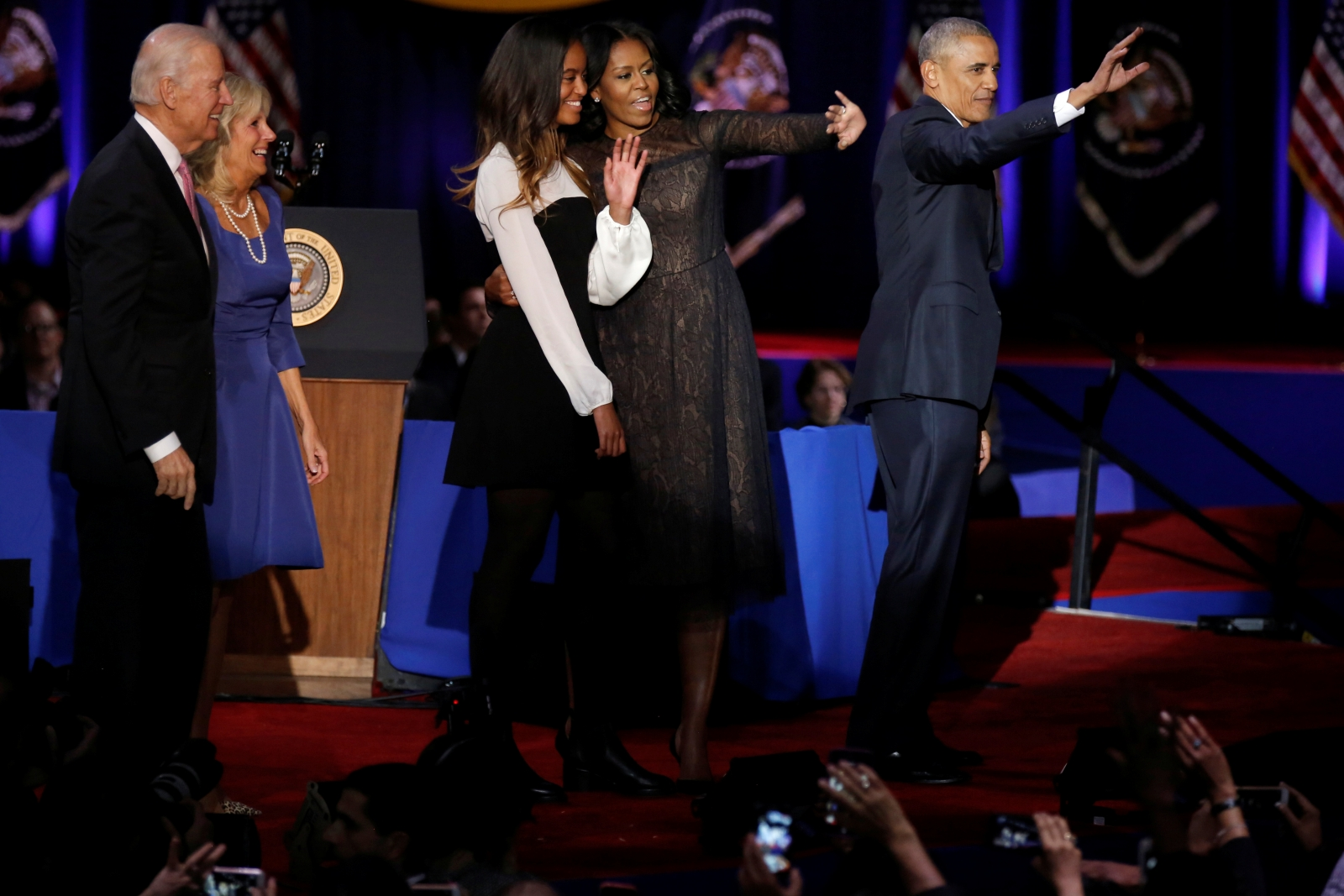 The Obama and Biden families wave farewell