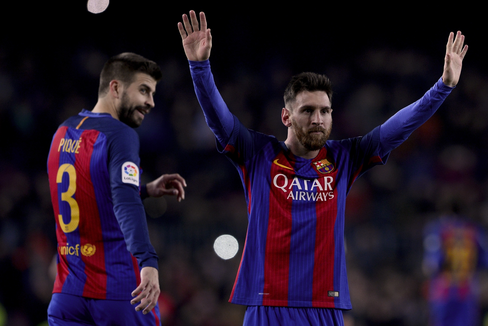 Gerard Pique and Lionel messi