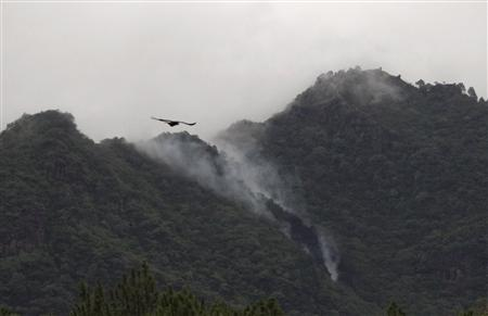 Smoke rises from the wreckage of a passenger plane which has crashed in The Margalla Hills on the outskirts of Islamabad