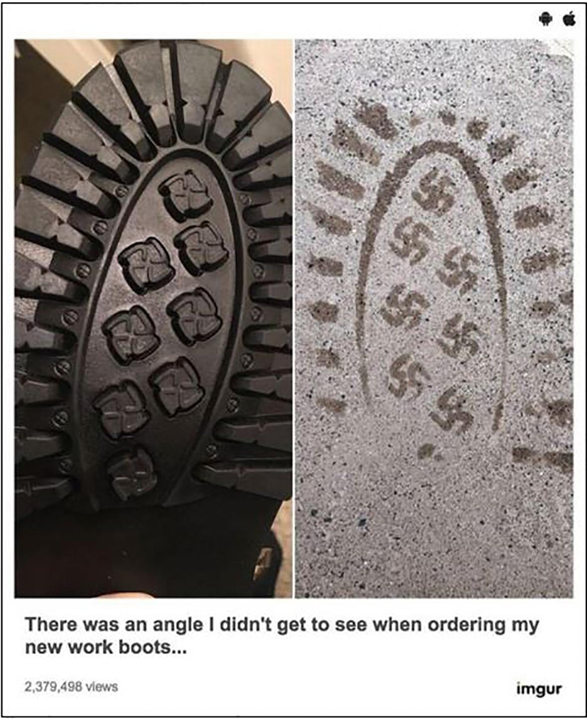 Swastika bootprint