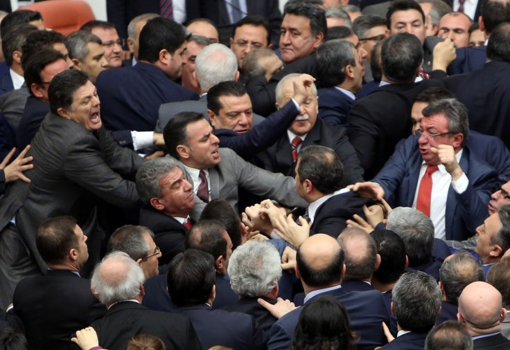Turkey parliament brawl
