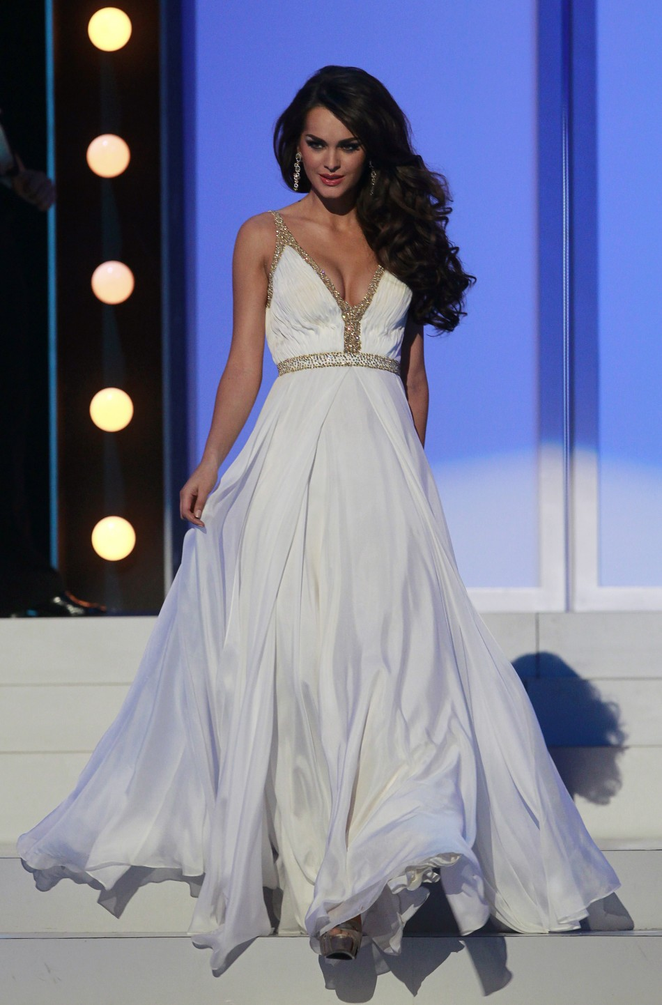Miss Ukraine Olesia Stefanko participates in the evening gown segment of the Miss Universe 2011 pageant in Sao Paulo