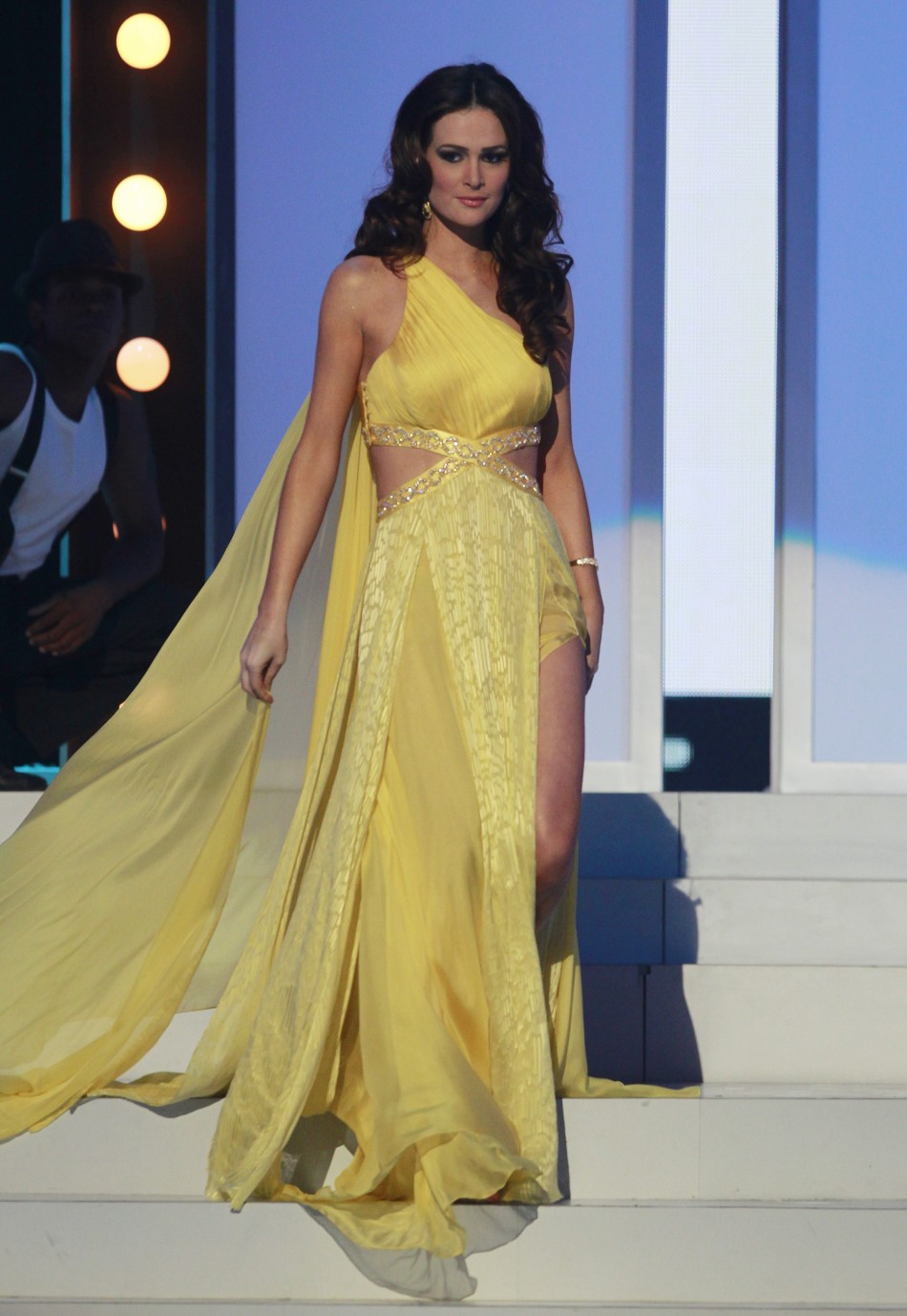 Miss Brazil Priscila Machado participates in the evening gown segment of the Miss Universe 2011 pageant in Sao Paulo