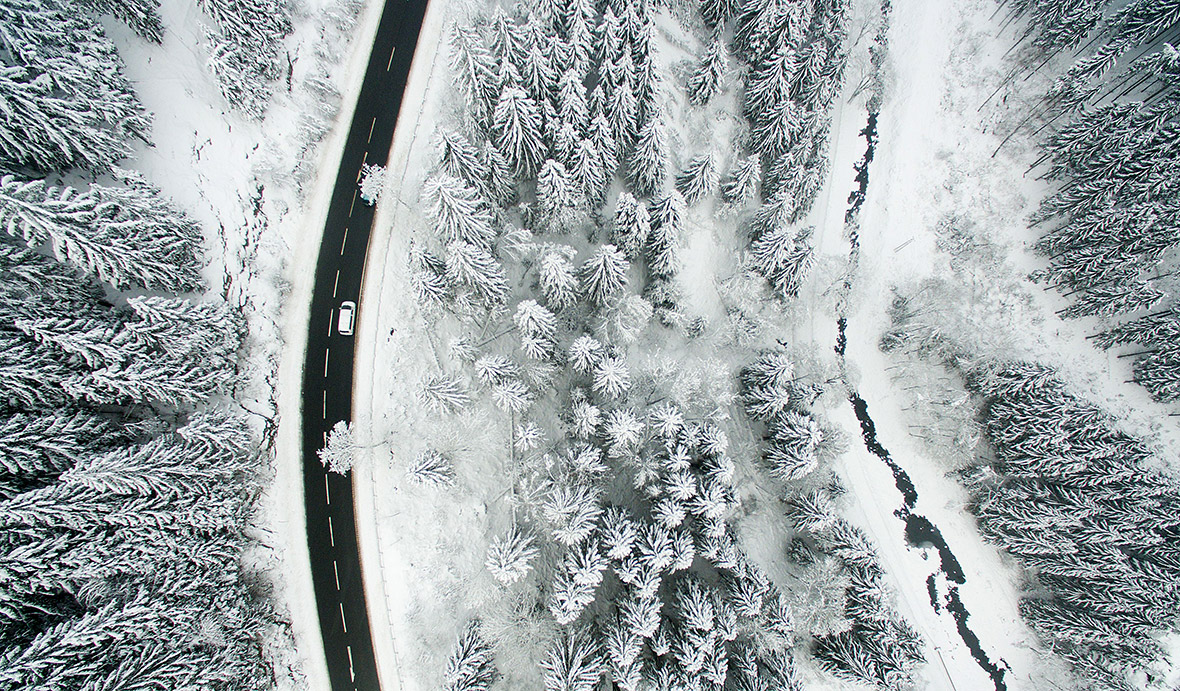 snow Europe drone photos