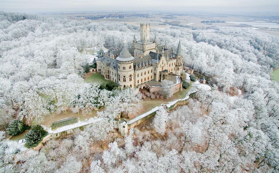snow Europe drone photos