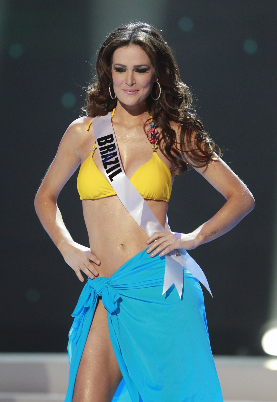 Miss Brazil Priscila Machado steps forward after being chosen among the final ten contestants of the Miss Universe 2011 pageant in Sao Paulo