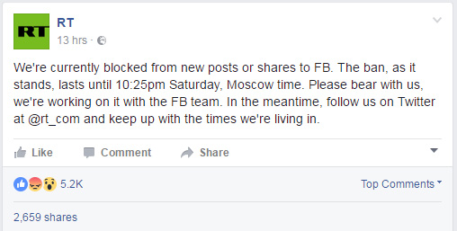RT's Facebook posts about the block