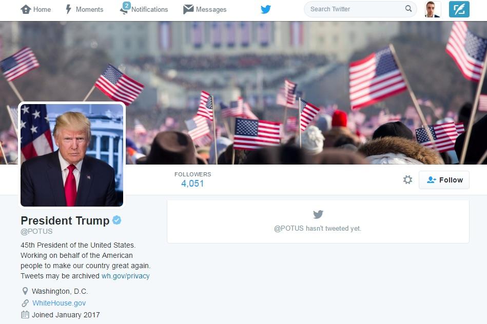 President Trump Twitter account