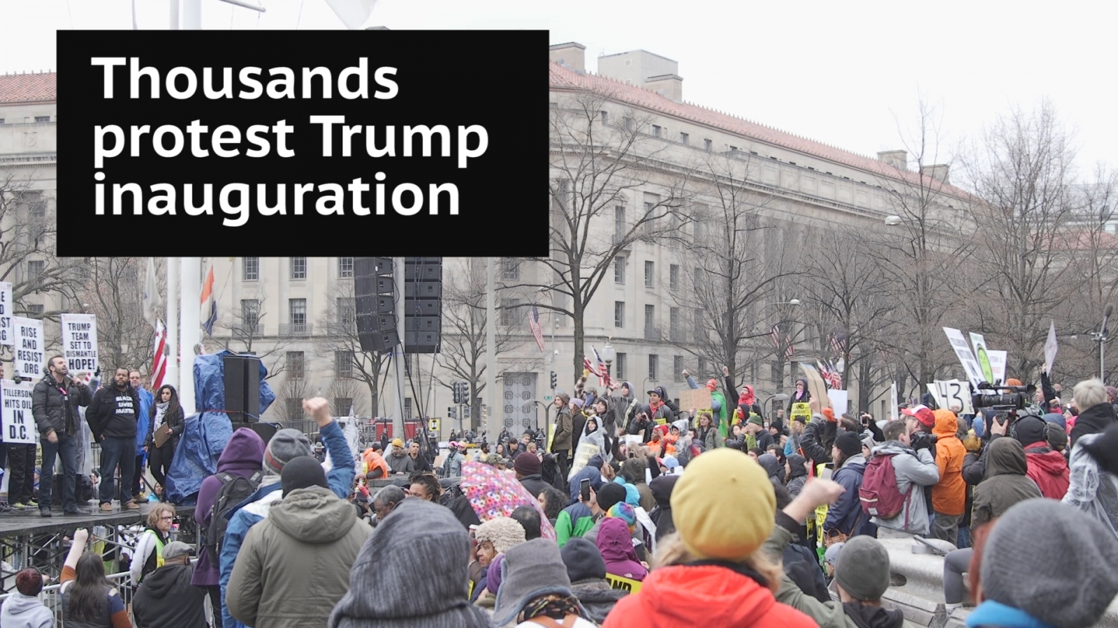 Thousands protest Donald Trump inauguration on streets of Washington DC