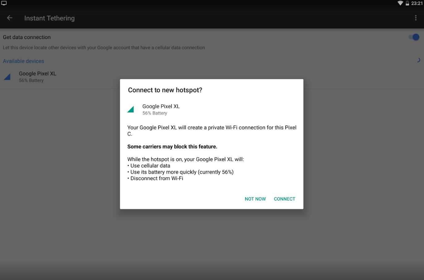 Google Play Services 10.2 with Instant Tethering