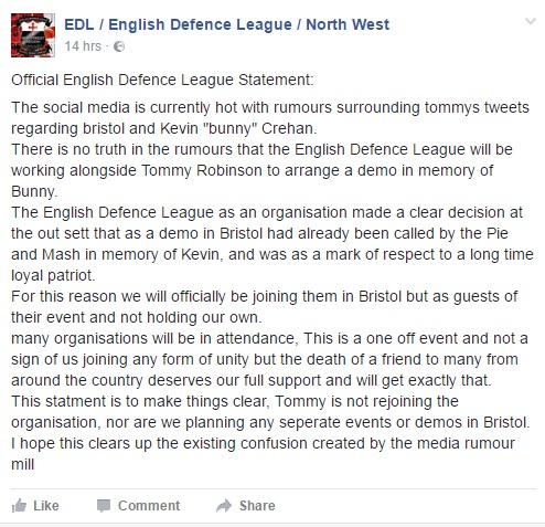 EDL statement Kevin Crehan march