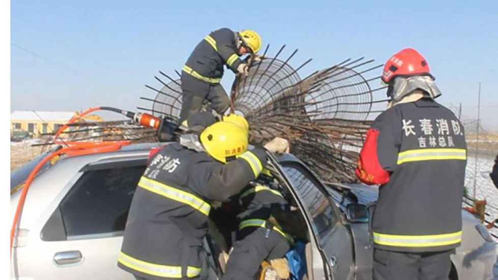 Firefighters free the man from the vehicle