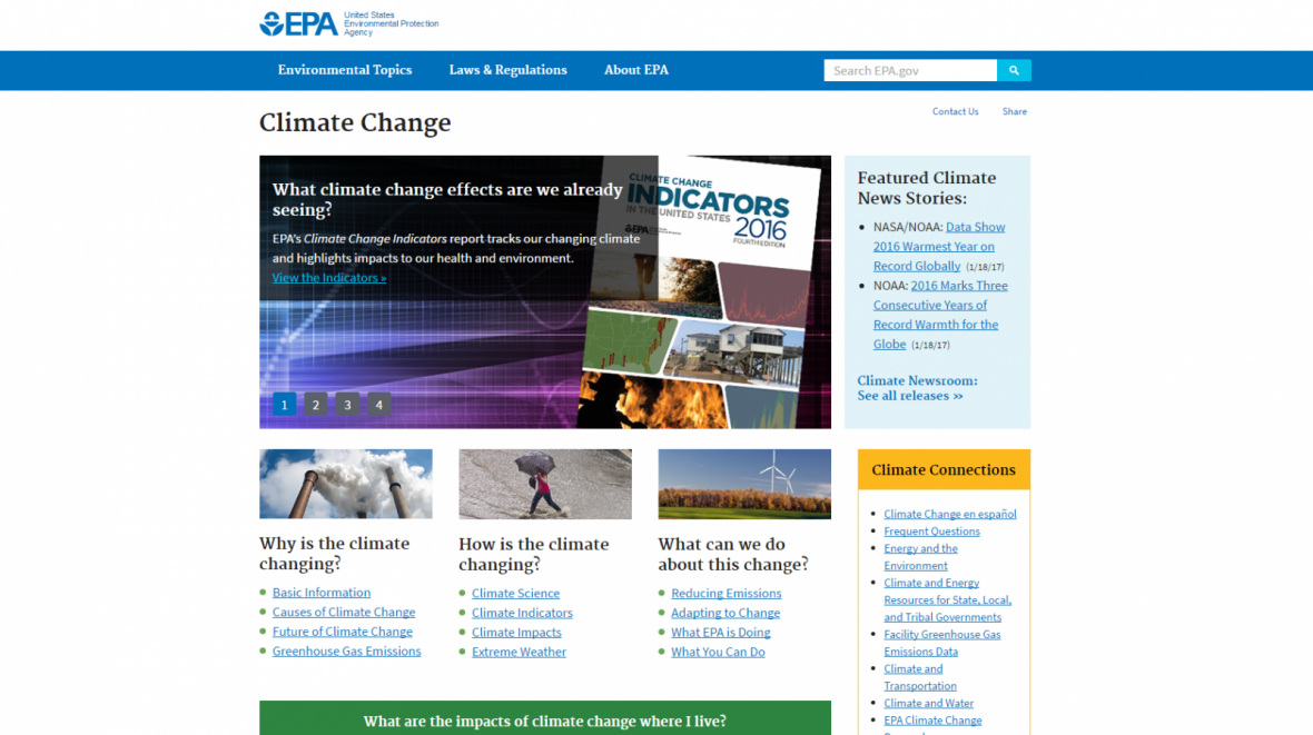 EPA climate change website