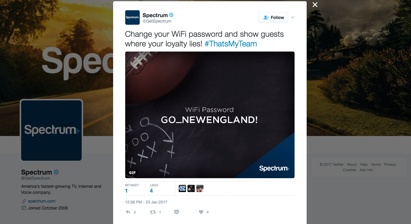 Charter Spectrum's Twitter post on Wi-Fi passwords