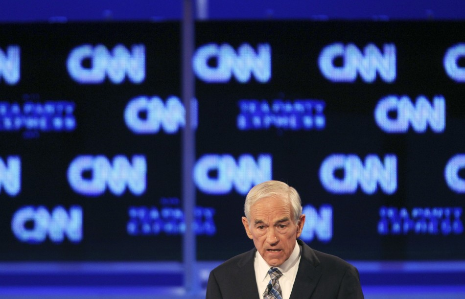 Texas Rep. Ron Paul speaks during the CNN/Tea Party Republican presidential candidates debate in Tampa