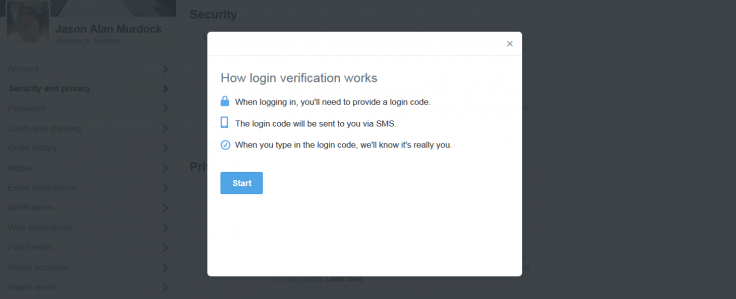 Twitter verification Step Two