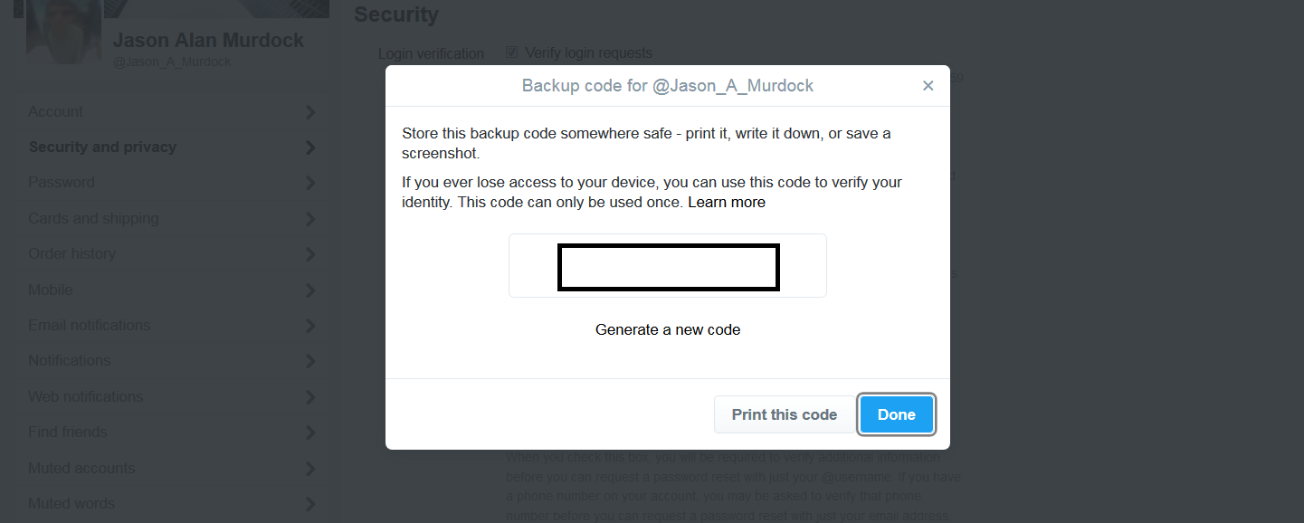 how to get backup code for twitter