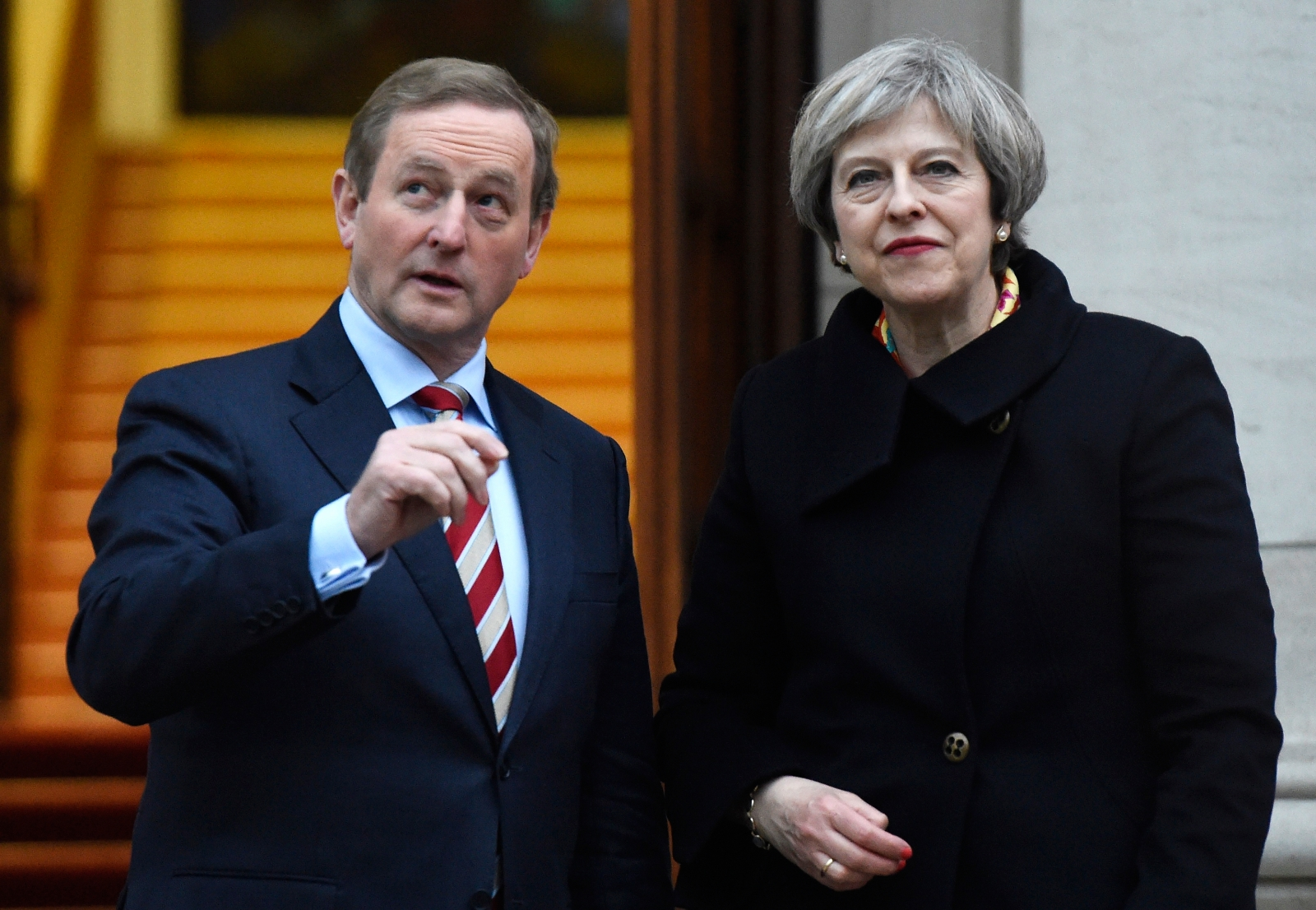 Ireland's Taoiseach Enda Kenny greets Britain's Prime Minister Theresa May to Government Buildings in Dublin