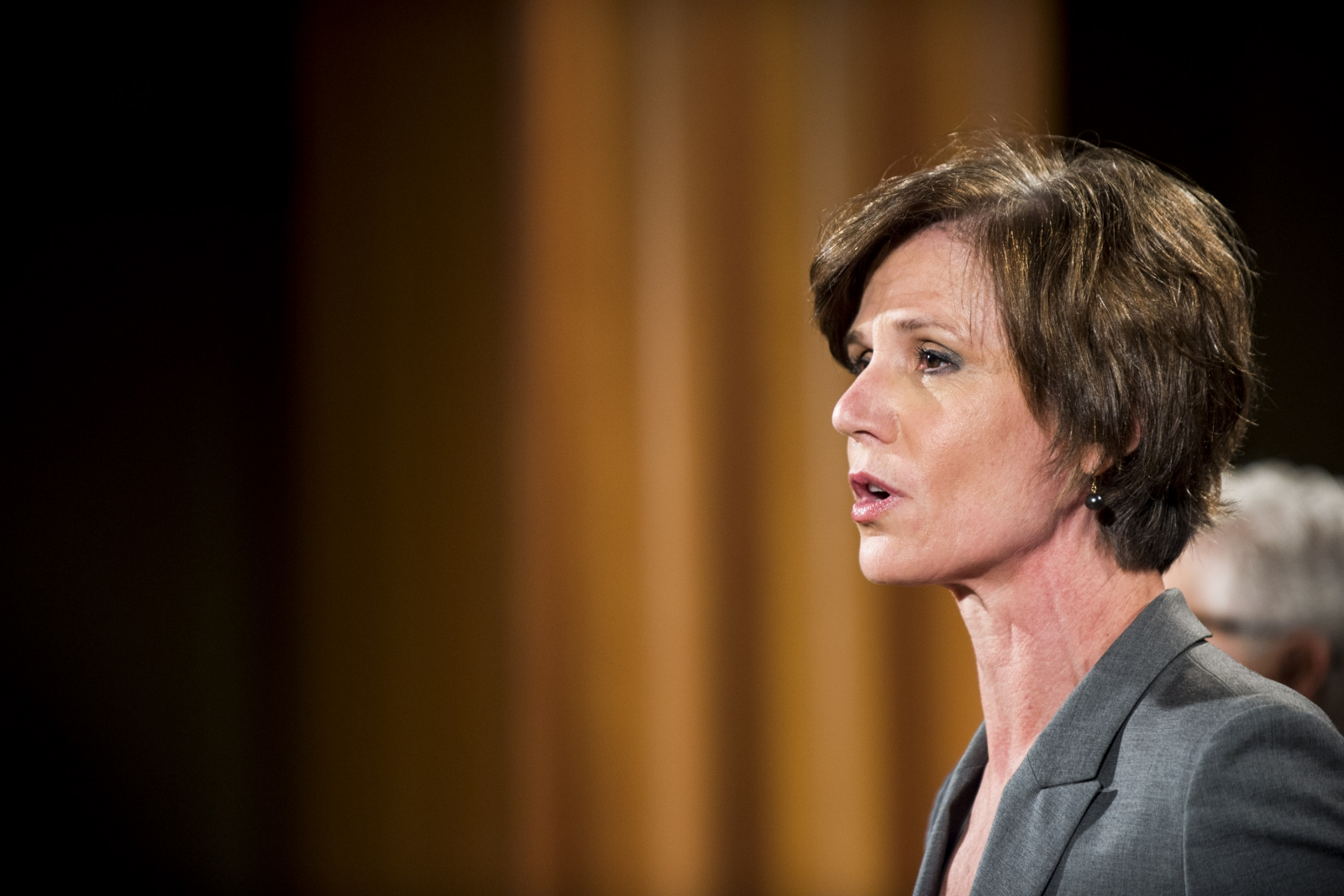 Sally Yates speaking at the Justice Department