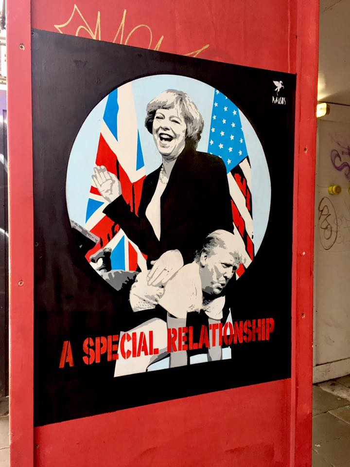 Theresa May Seen Spanking Donald Trump In Latest Street