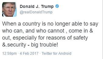 Donald Trump travel ban injunction tweet 1