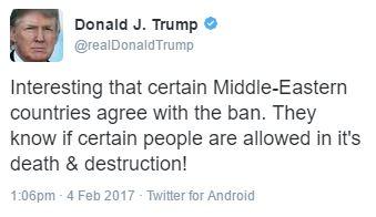 Donald Trump travel ban injunction tweet