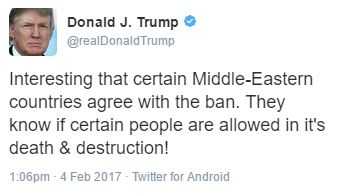 Donald Trump travel ban injunction tweet