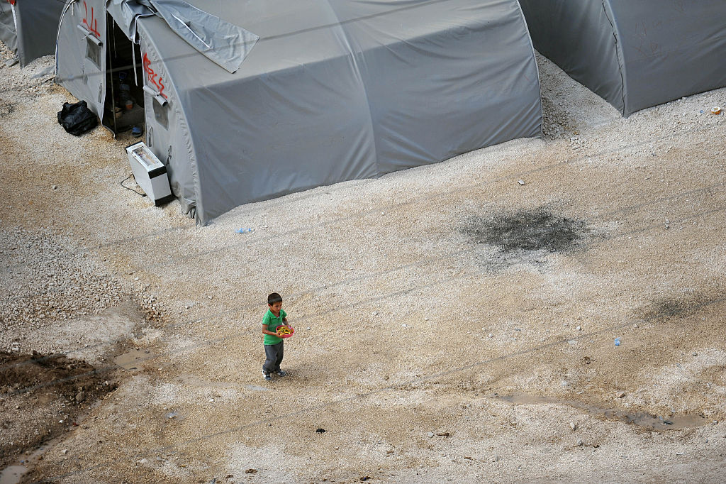 Child refugee in a Turkish refugee camp