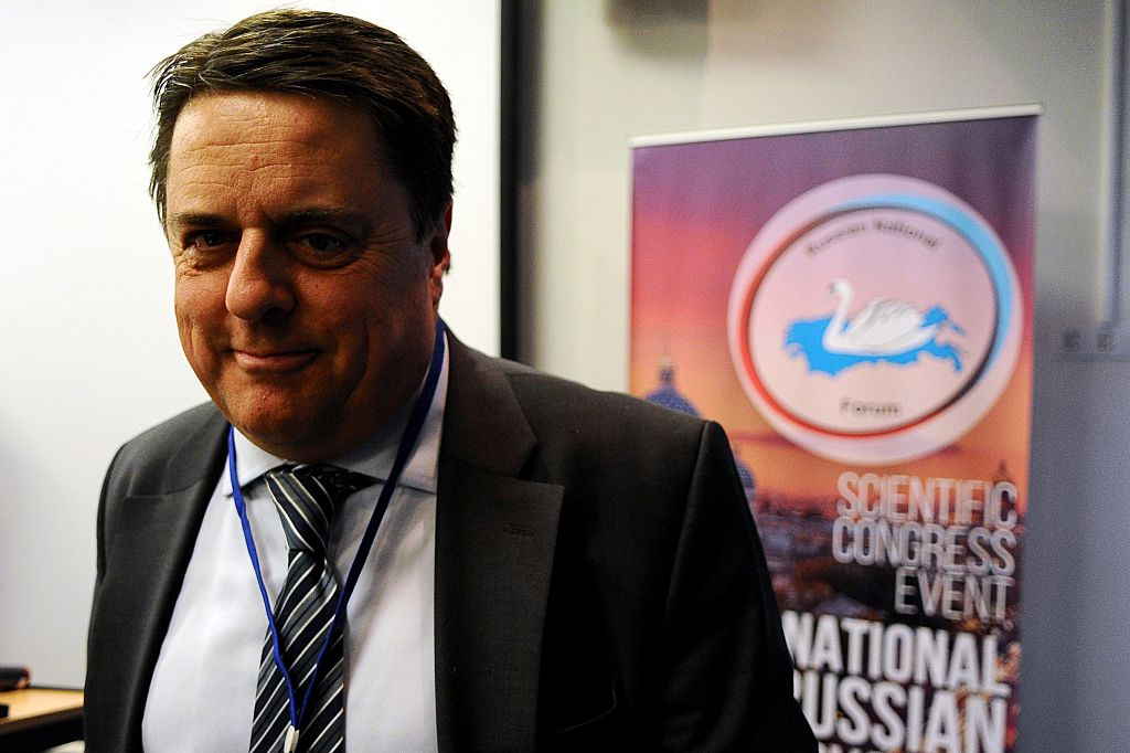 Former head of the British National Party Nick Griffin takes part in the International Russian Conservative Forum in Saint-Petersburg on March 22, 2015. Representatives of about a dozen far-right groups from across Europe gathered in Russia for a pro-Krem