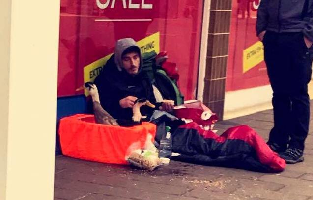 Homeless man ducks