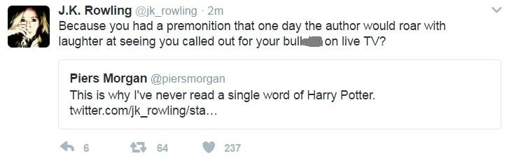 JK Rowling tweet to Piers Morgan