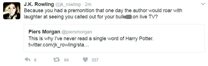 JK Rowling tweet to Piers Morgan