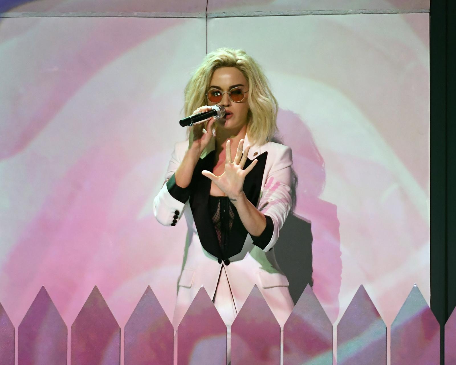 Brits 2017: Katy Perry targets Donald Trump and Theresa May during performance