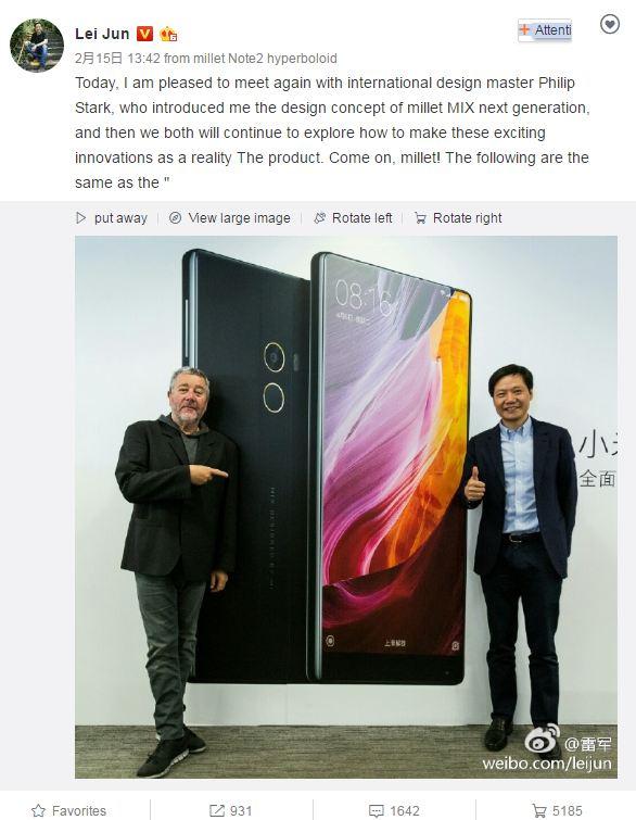 Xiaomi Mi Mix successor with thinner bezels