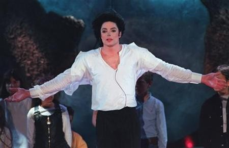 Pop star Michael Jackson sings the ''Earth Song'' during the World Music Awards ceremony at the Sporting Club in Monte Carlo in this May 8