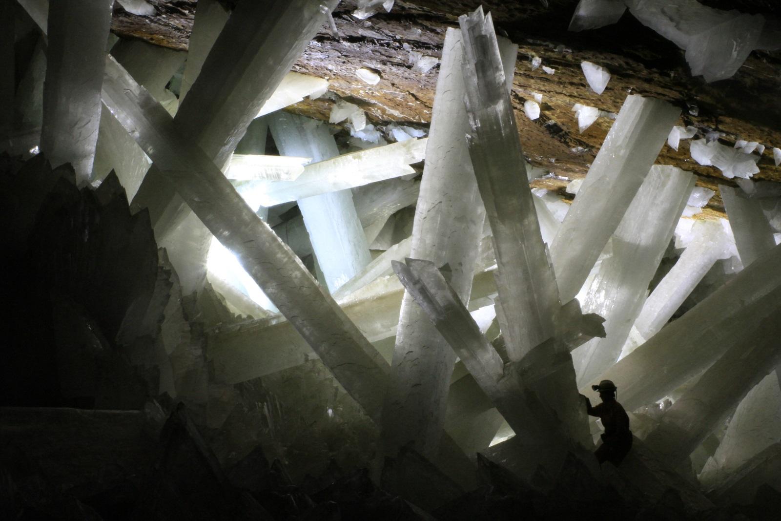 Gypsum crystals in Naica cave Mexico