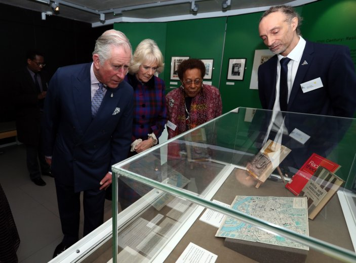 Charles and Camilla look at old books